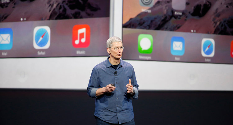 Apple CEO Tim Cook speaks during an Apple event announcing the iPhone 6 and the Apple Watch at the Flint Center in Cupertino