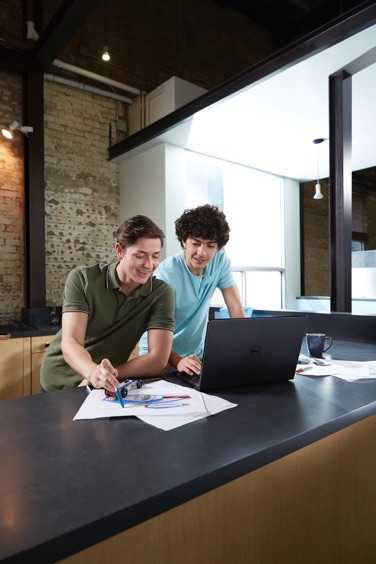 Two Students Using Inspiron 15 5000 Series Non-Touch Notebook
