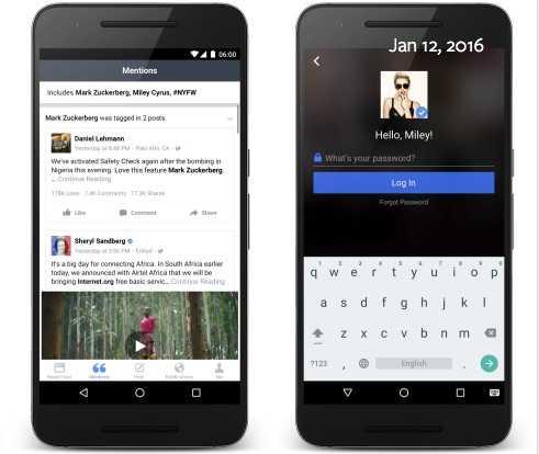Facebook Mentions Android için Yayınlandı