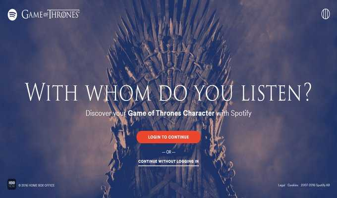Spotify İle Game of Thrones Karakterinizi Bulun!
